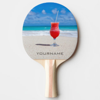 Bebida en la paleta de encargo del ping-pong de la pala de tenis de mesa