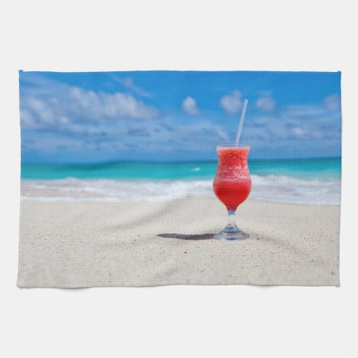 Bebida en la playa toallas