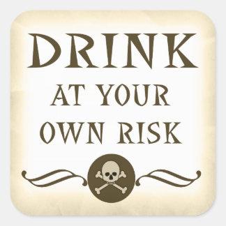 Bebida en sus propias muestras de la bebida de calcomania cuadradas personalizada