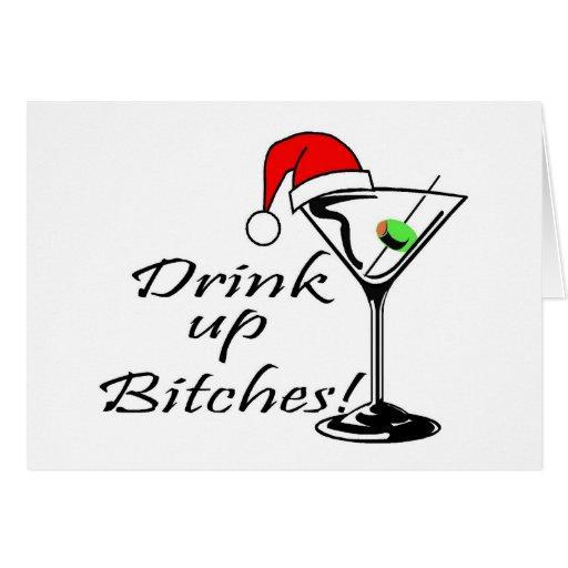 Bebida encima del navidad Martini de las perras Tarjetón