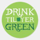 Bebida hasta el verde del YER - pegatinas Etiquetas Redondas