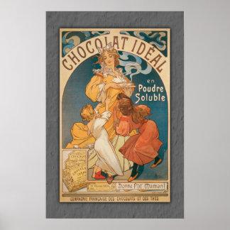 Bebida ideal del francés del vintage del chocolate poster