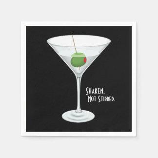 Bebida no revuelta sacudida del cóctel de martini servilleta de papel