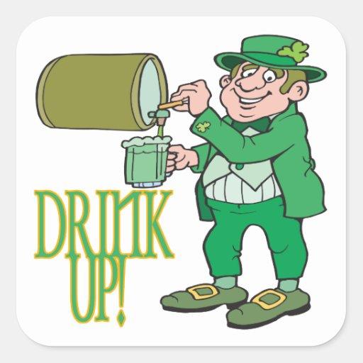 Bebida para arriba calcomanía cuadradas