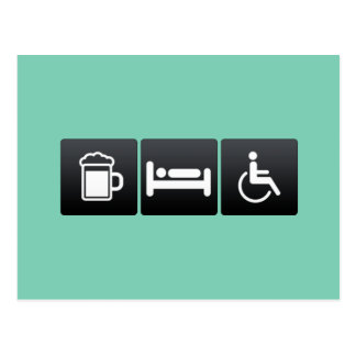 Bebida, sueño y accesibilidad postales