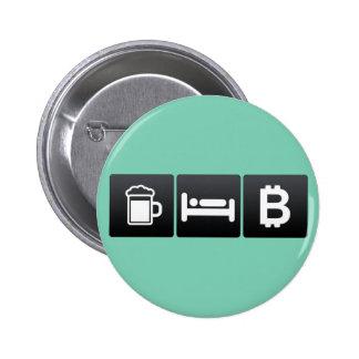 Bebida, sueño y bitcoin pin redondo 5 cm