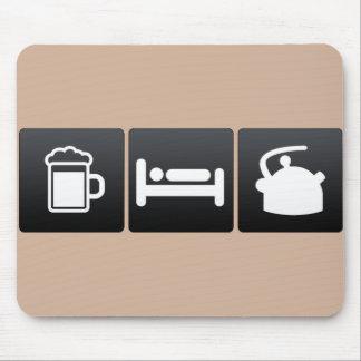Bebida, sueño y calderas de té tapetes de ratones