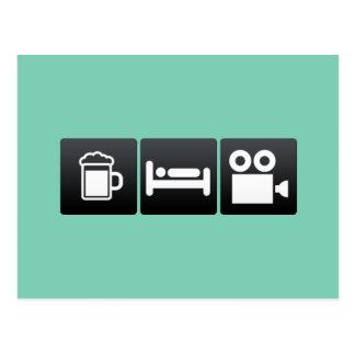 Bebida, sueño y cámaras de la película tarjeta postal