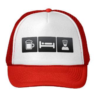 Bebida, sueño y chefs ejecutivos gorras