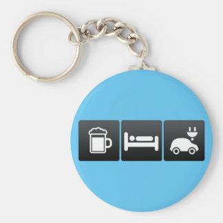 Bebida, sueño y coches eléctricos llavero redondo tipo pin