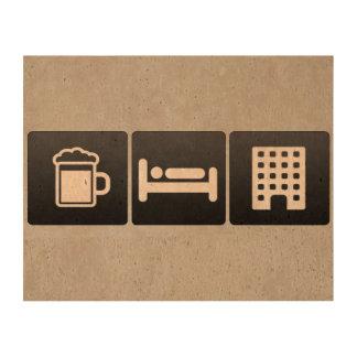 Bebida, sueño y edificios de varios pisos impresión en corcho