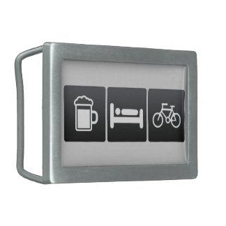 Bebida, sueño y jinetes de la bicicleta hebillas cinturon rectangulares