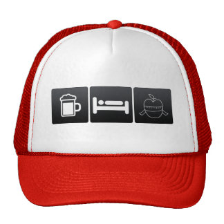 Bebida, sueño y manzanas gorras de camionero