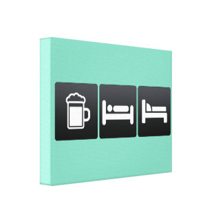 Bebida, sueño y muebles lienzo envuelto para galerias