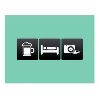 Bebida, sueño y radios tarjetas postales