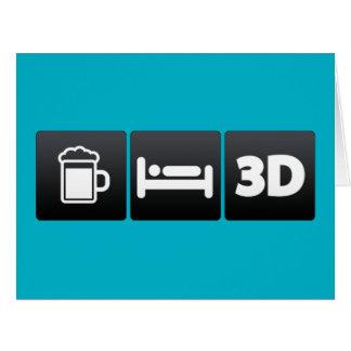 Bebida, sueño y tecnología 3d tarjeta de felicitación grande