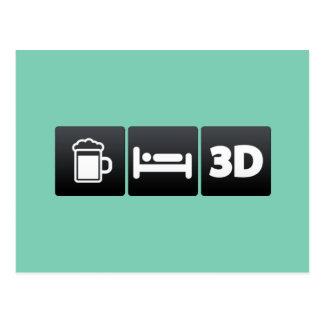Bebida, sueño y tecnología 3d postal