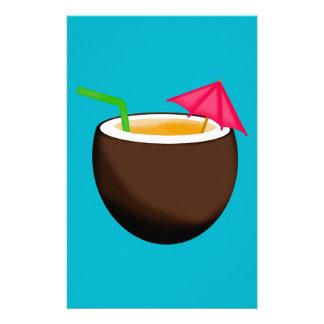 Bebida tropical del coco papeleria personalizada