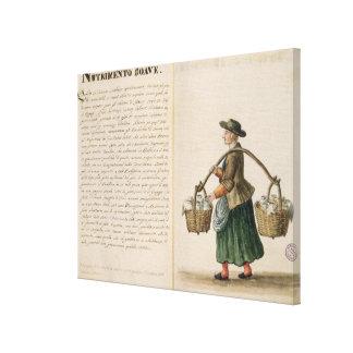 Bebida-vendedor, veneciano (manuscrito) impresion de lienzo