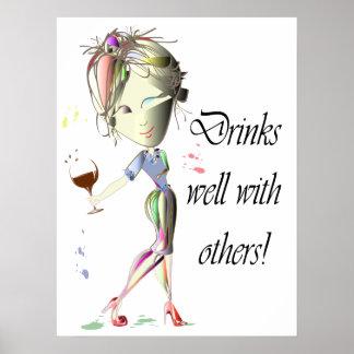 Bebidas bien con otras, poster divertido del arte