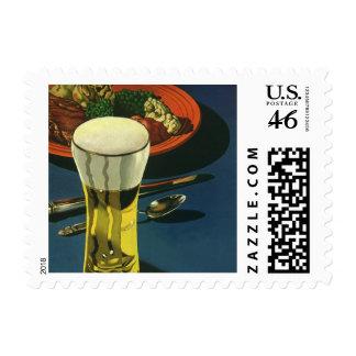 Bebidas de la comida del vintage, vidrio de cervez sello