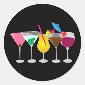 Bebidas del fiesta pegatina redonda