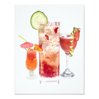 Bebidas del rojo invitación 10,8 x 13,9 cm