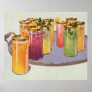 Bebidas del vintage bebidas con los cubos de hiel posters