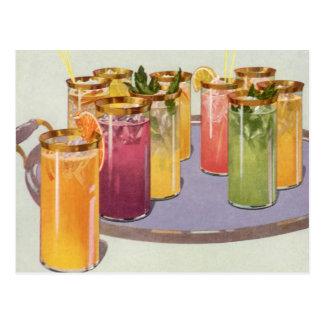 Bebidas del vintage, bebidas con los cubos de hiel postales