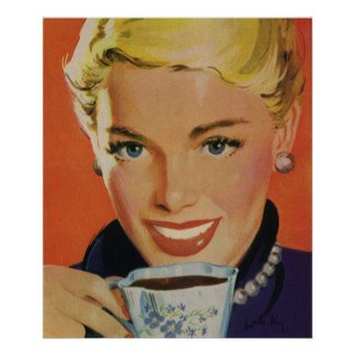 Bebidas del vintage, café de consumición sonriente póster