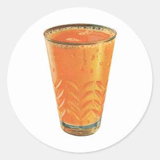 Bebidas del vintage, vidrio del desayuno del zumo pegatina redonda