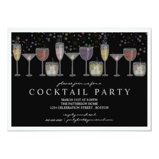 Bebidas e invitación retras del cóctel de las