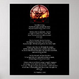 Bebidas espirituosas del pentáculo de Samhain y Póster