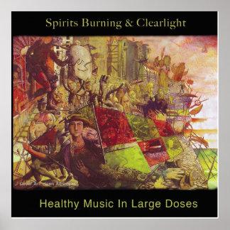 Bebidas espirituosas que queman y poster sano de l