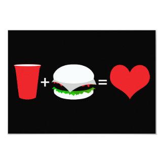 """bebidas + hamburguesas = amor invitación 3.5"""" x 5"""""""