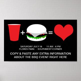 bebidas + hamburguesas = amor posters