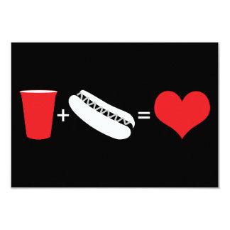 """bebidas + perritos calientes = amor invitación 3.5"""" x 5"""""""