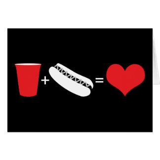 bebidas + perritos calientes = amor tarjeta pequeña