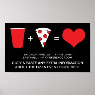 bebidas + pizza = amor póster