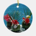 Bebidas tropicales, flores de Hawaii Ornaments Para Arbol De Navidad