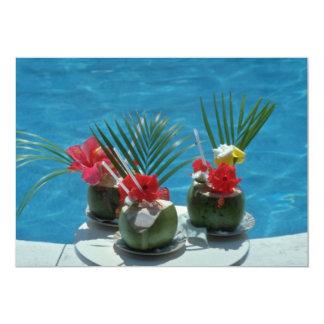 Bebidas tropicales, flores de Hawaii Invitaciones Personales