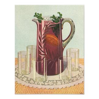 Bebidas y bebidas, jarra del vintage de té helado invitacion personal
