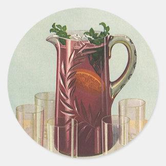 Bebidas y bebidas, jarra del vintage de té helado pegatina redonda