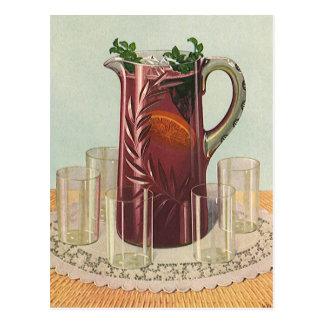 Bebidas y bebidas, jarra del vintage de té helado postales