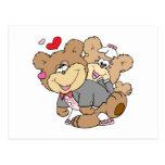 bebido con los osos lindos del boda del amor tarjeta postal