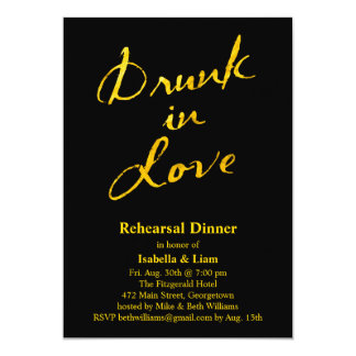 Bebido en la invitación de la cena del ensayo del