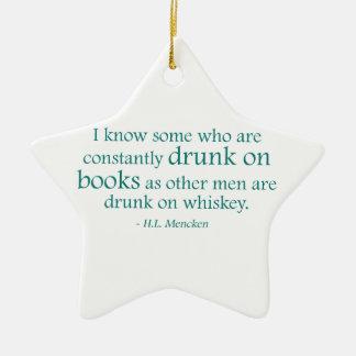 Bebido en los libros adorno navideño de cerámica en forma de estrella