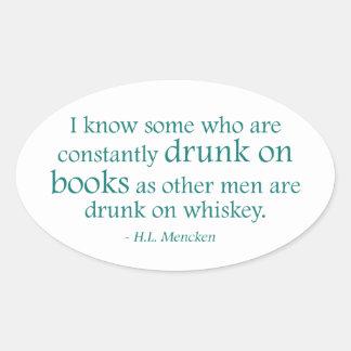 Bebido en los libros pegatina ovalada