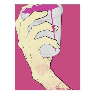 bebió rosa de la taza de la mano postales