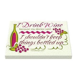 Bebo cita divertida del vino impresiones en lienzo estiradas